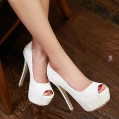 White Open Toe Prom Pumps Petite