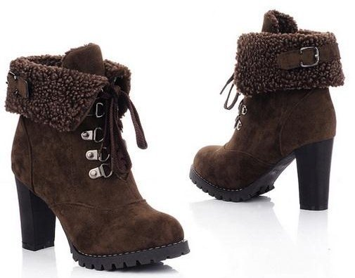 brown cinderella ankle boots furry