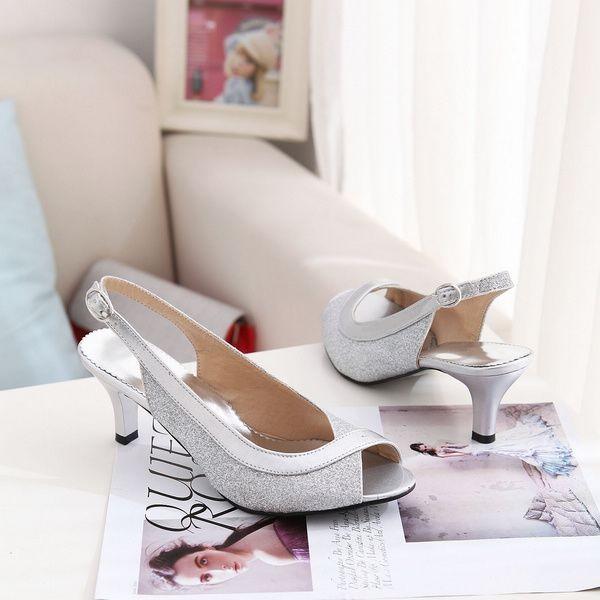 silver petite prom pumps