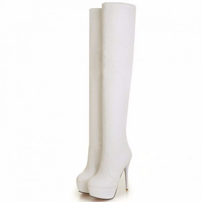 over the knee petite boots white