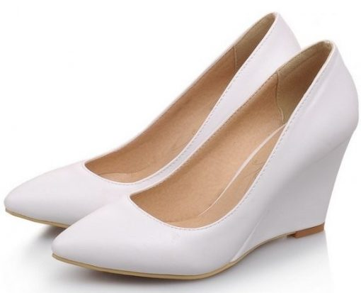 white extra petite wedges