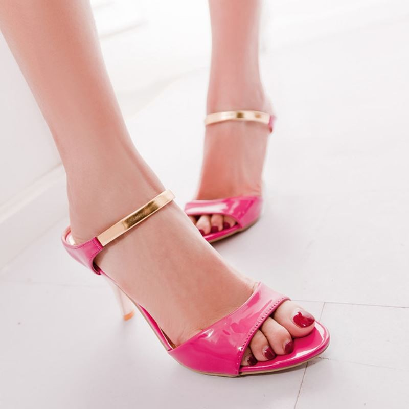 petite pumps hot pink ankle strapped gold size 3