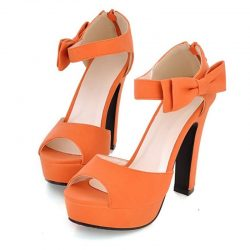 petite heels size 5 orange ankle strapp