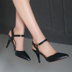 black ankle strap petite heels cinderella shoes