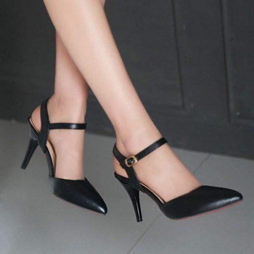 black ankle strap petite heels cinderella shoes